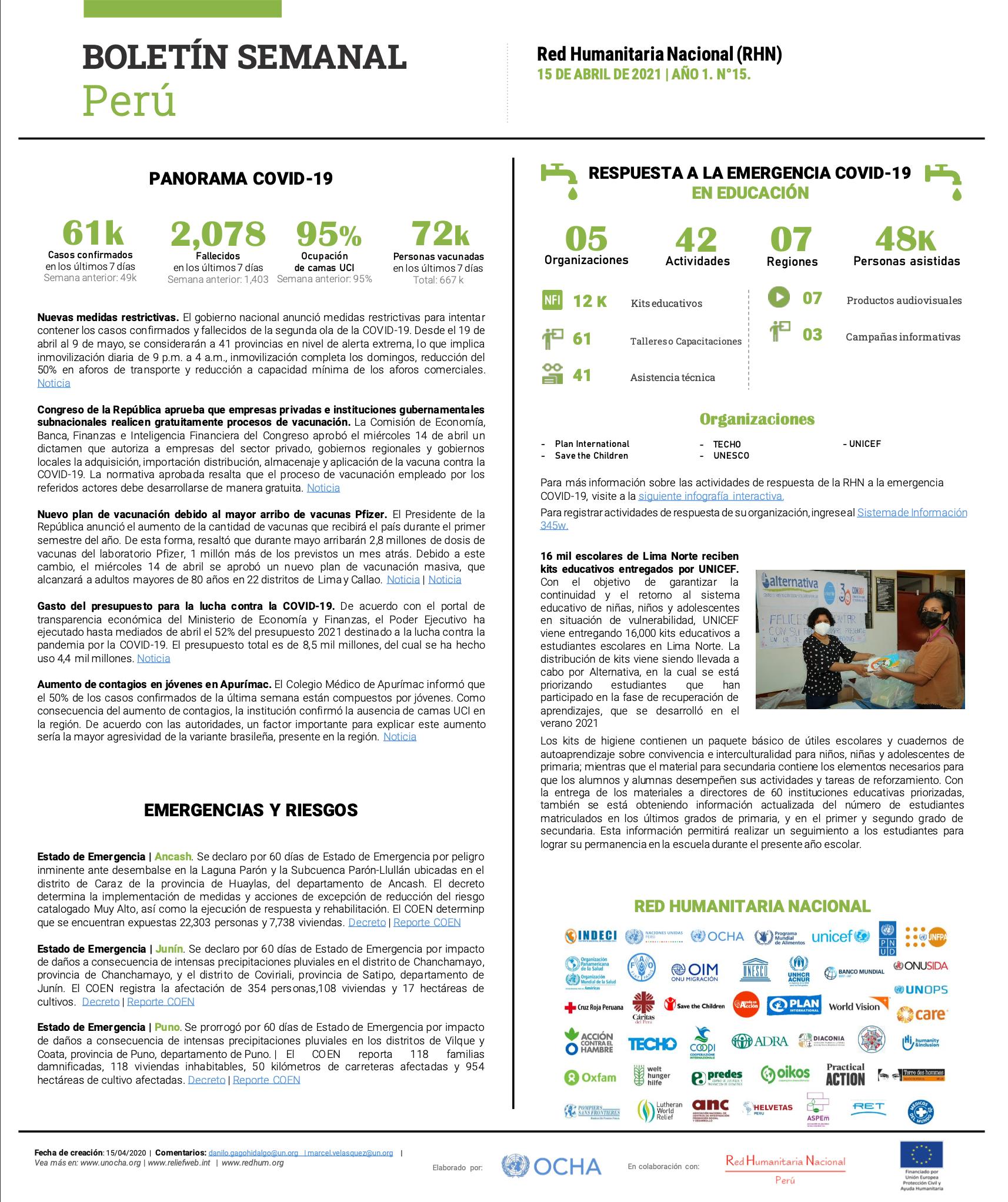 Boletín Semanal | Red Humanitaria Nacional | Abril 2021