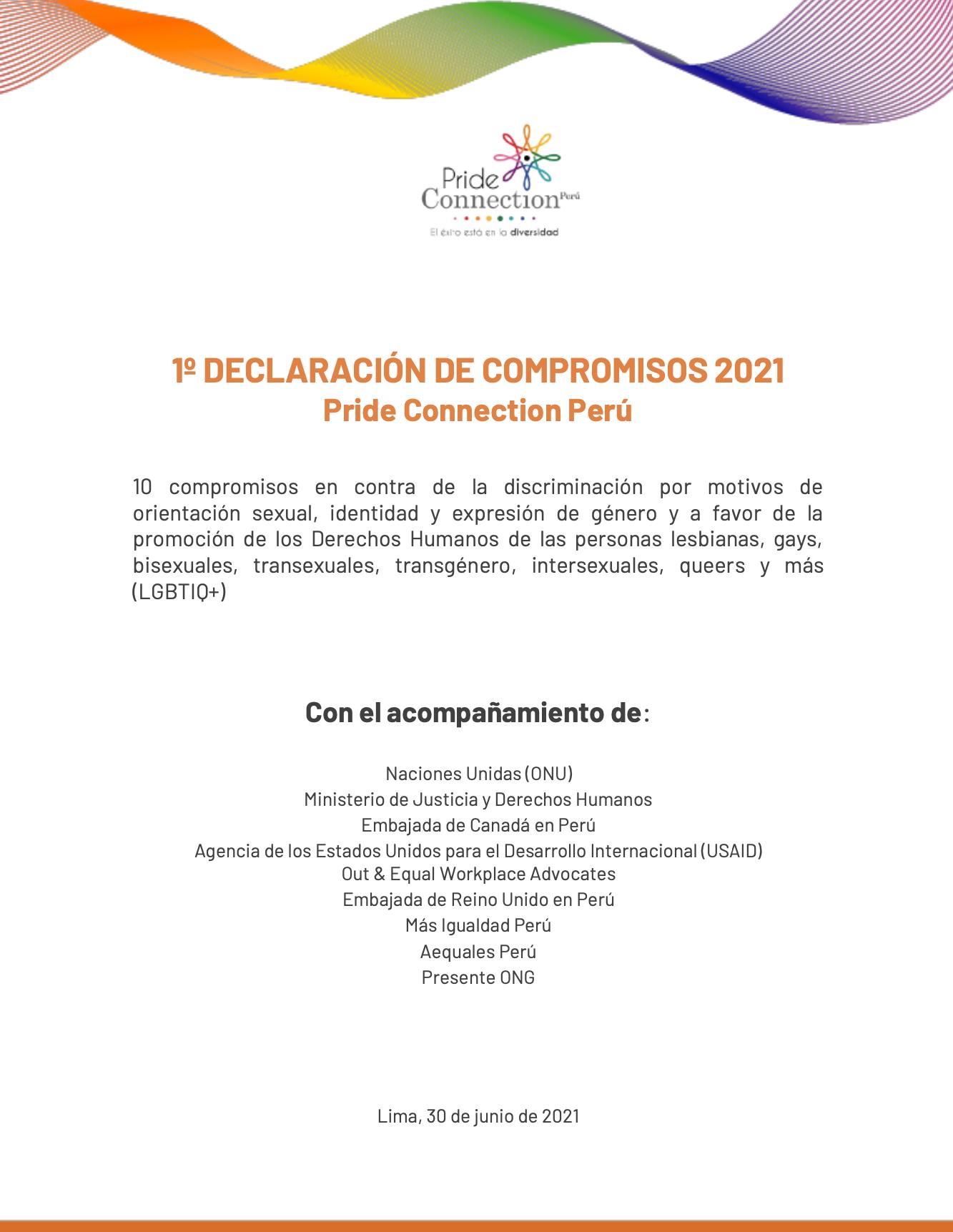 Primera Declaración de Compromisos Pride Connection Perú 2021